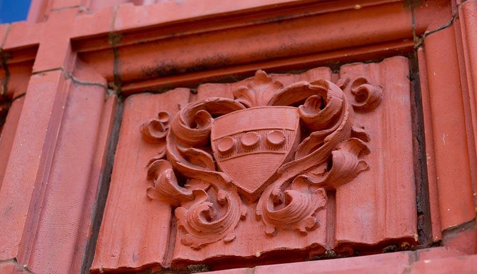 Terracotta Heraldry on the Duhring Wing. | Steven Minicola, University of Pennsylvania Communications.