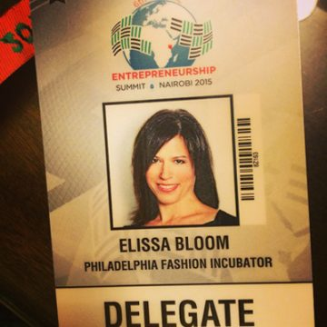 Elissa Bloom's credentials for the Global Entrepreneurship Summit in Nairobi, Kenya.