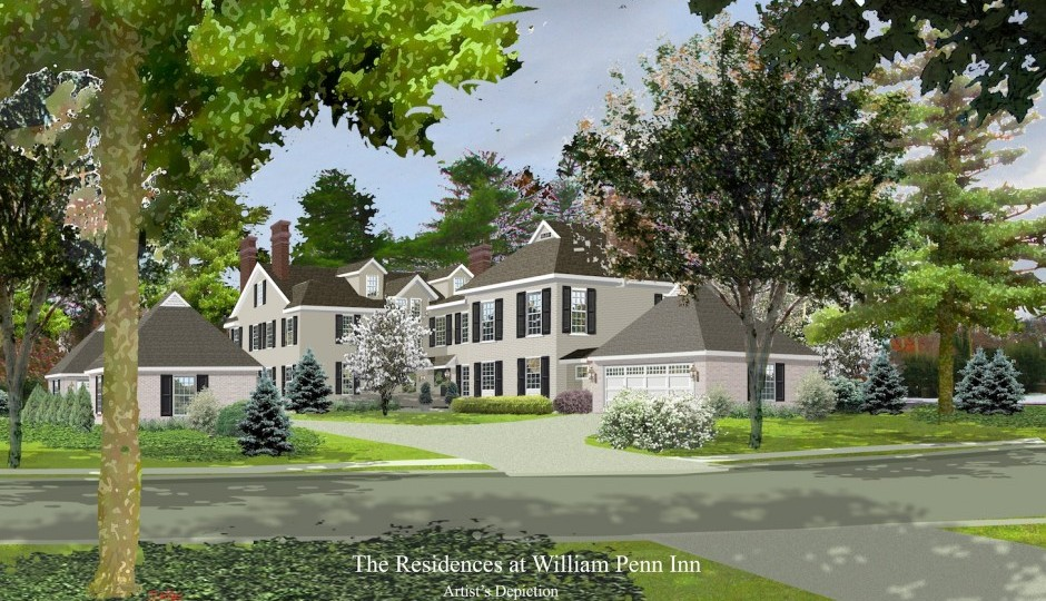 Rendering of the Residences at the William Penn Inn | via Main Line Adapt