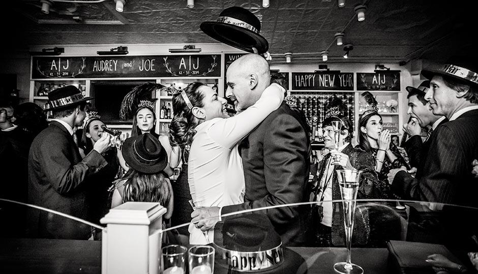 Audrey and Joe Friedberg at Twenty Manning for their wedding celebration. Photograph by Ashley E. Labonde/Wide Eyed Studios