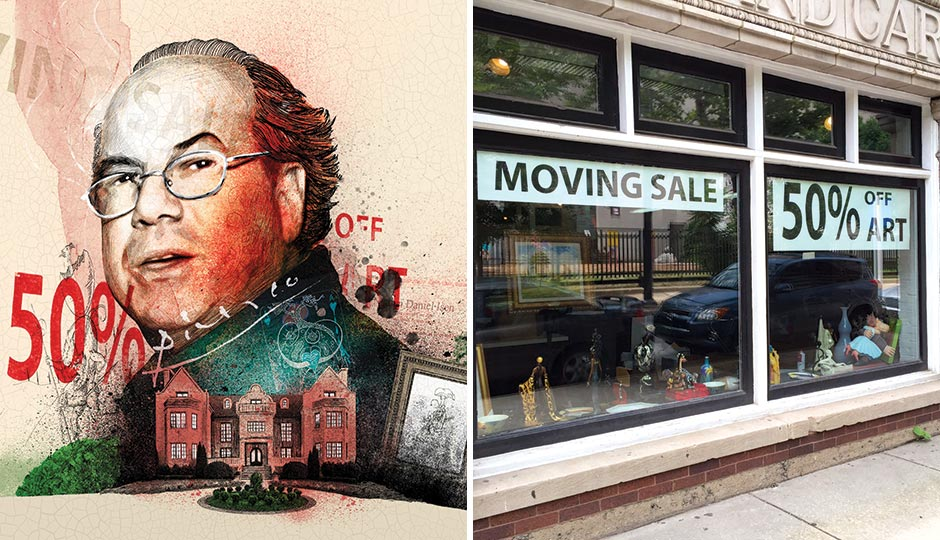 Left: Illustration by Peter Strain. Right:  The I. Brewster Gallery near 21st and Race. Photograph by Christopher Leaman