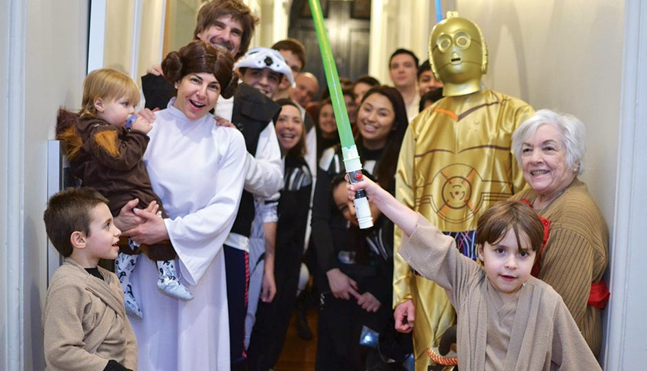 Joshua, Jack, Audrey, Joe, Audrey's mother Louise and Nathan in Star Wars garb. Photograph courtesy of Audrey Taichman.