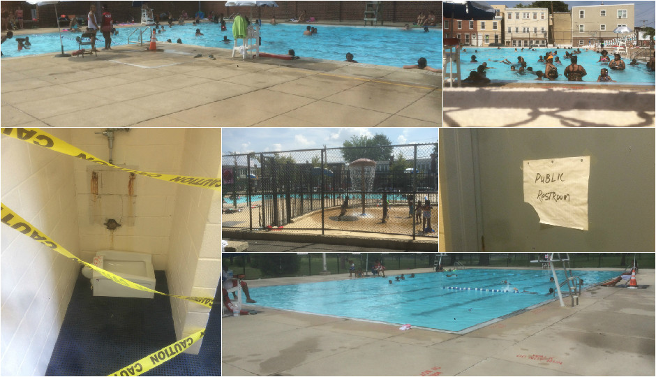 At other city pools, lots of concrete and questionable maintenance. | Photos by Tom Beck.