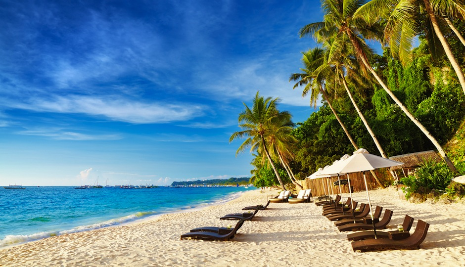 We'd love to be lounging on this beach in Boracay. Shutterstock.