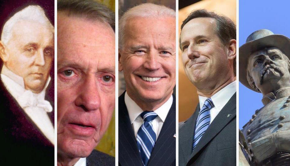 From left: James Buchanan, Arlen Specter, Joe Biden, Rick Santorum, William Scott Hancock.
