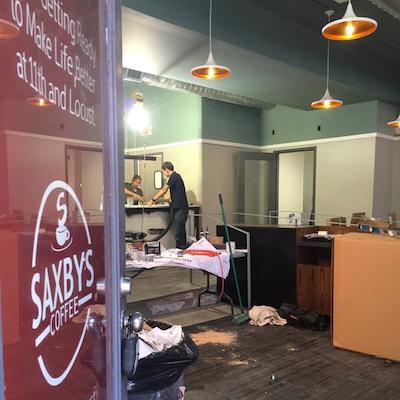 "The Gayborhood Saxbys store ""in progress."""