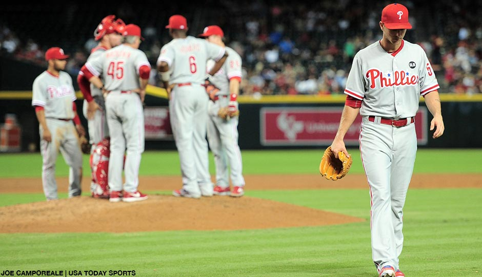 Philadelphia Phillies starting pitcher David Buchanan (55) leaves the game during the second inning against the Arizona Diamondbacks at Chase Field on August 11th.