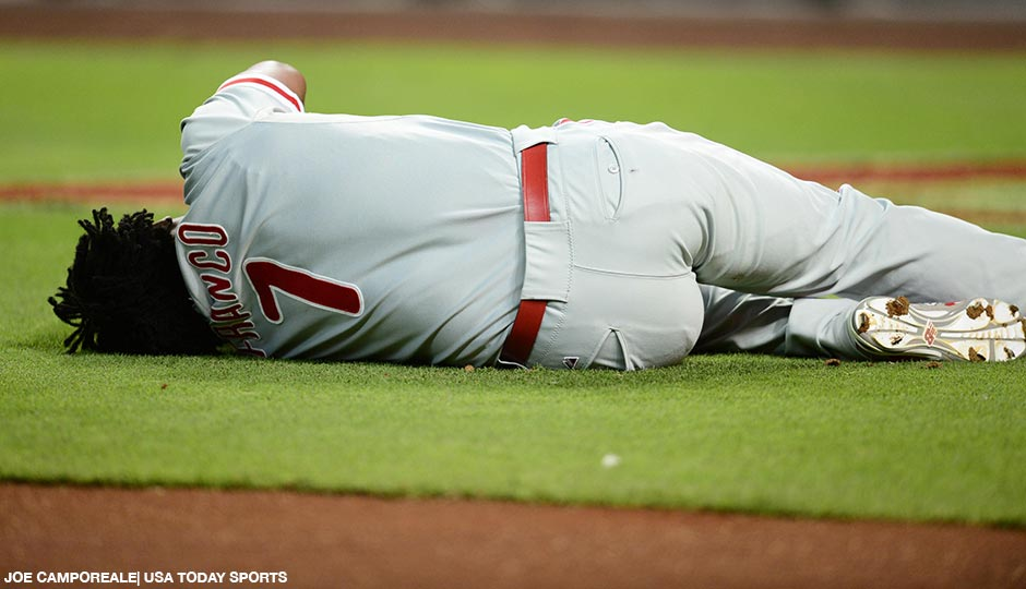 Philadelphia Phillies third baseman Maikel Franco lies on the field after being hit by a pitch against the Arizona Diamondbacks during the first inning at Chase Field on August 11th.