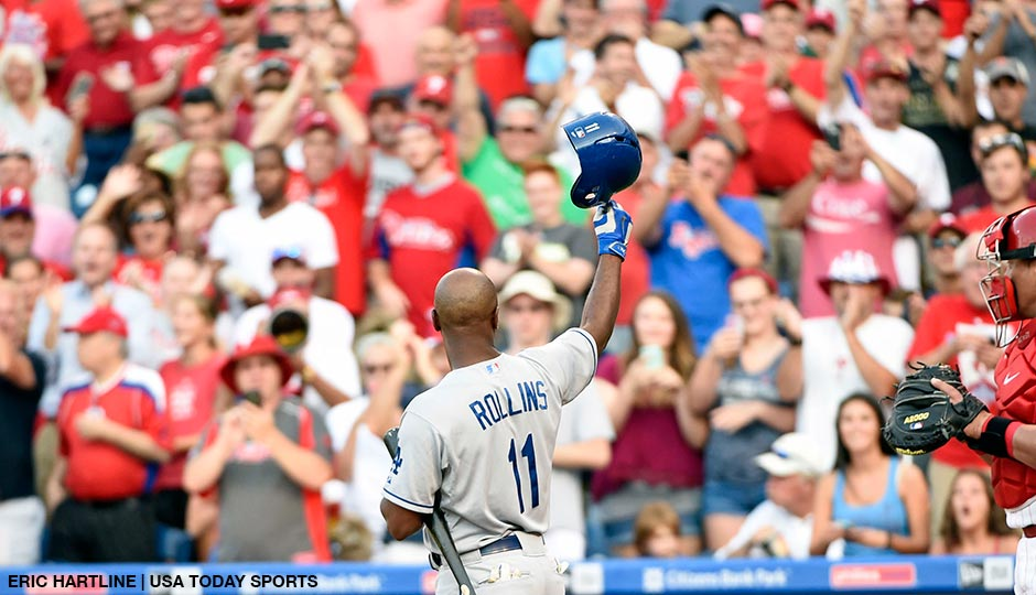 Jimmy Rollins acknowledges the crowd before his at bat during the first inning against the Philadelphia Phillies at Citizens Bank Park.