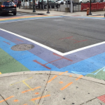A picture of the crosswalks at 13th and Locust yesterday afternoon, 8/19/15.