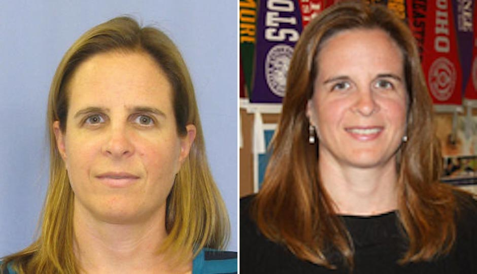 Suspect Emily Feeney, from left, in her mugshot via Chester County District Attorney's Office, and in her Malvern Prep bio.