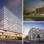 From left clockwise: 1101 Ocean, the Asbury, Monroe | Renderings via Asbury Park Waterfront