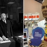 Julian Bond, left, with Dr. Martin Luther King in 1966 (AP), and right, with the last book he authored.