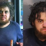 Michael Villalpando at Jose Pistola's (left) and in his most recent mugshot photo (right).