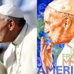 Papal Plagiarism?:  Franco Origlia's photo of Pope Francis (left, via Getty Images); Perry Milou's $1 million painting (right, via Peter Breslow Consulting & Public Relations)