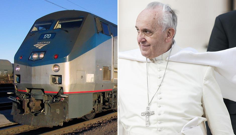 Amtrak | Shutterstock. Pope Francis | giulio napolitano / Shutterstock.com