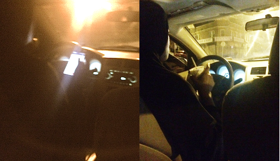My UberX driver alternates between texting and eating her ice cream sundae.