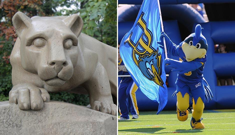 Nittany Lion | Shutterstock.com. University of Delaware Blue Hen | Aspen Photo / Shutterstock.com