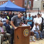 Connor Barwin speaks at the Ralph Brooks Park dedication ceremony. | Photo by HughE Dillon