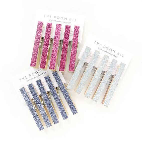 find these sparkly clothespins here