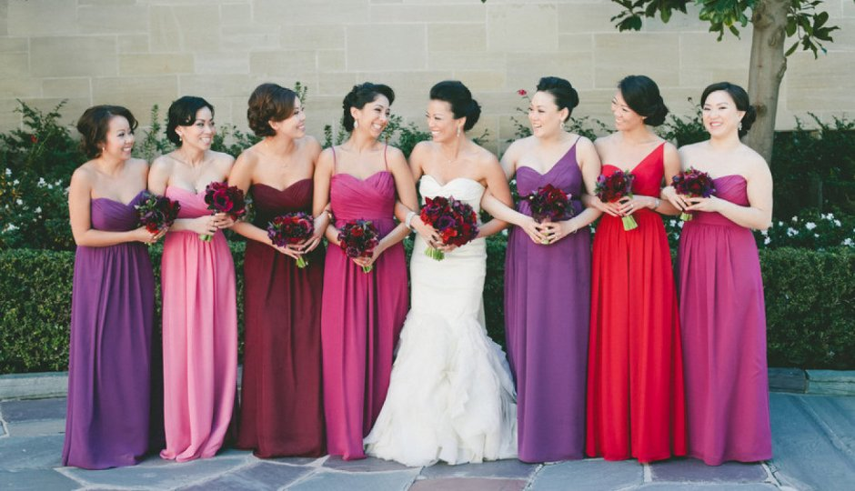 How pretty are these assorted bridesmaid dresses?