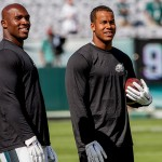 DeMeco Ryans and Jordan Hicks. (Jeff Fusco)