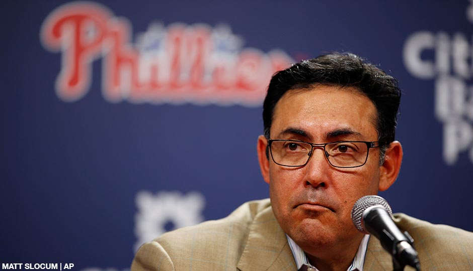 Ruben Amaro Jr. pauses during a news conference before a baseball game against the San Diego Padres, Tuesday, June 10, 2014, in Philadelphia.