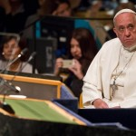 Pope Francis listens during his introduction to address the 70th session of the United Nations General Assembly, Friday, Sept. 25, 2015 at United Nations headquarters.