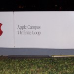 """Apple Headquarters Sign AtNight"" by en:User:Nishant12 - photographed by en:User:Nishant12 and uploaded to the English Wikipedia. Licensed under Public Domain via Wikimedia Commons"