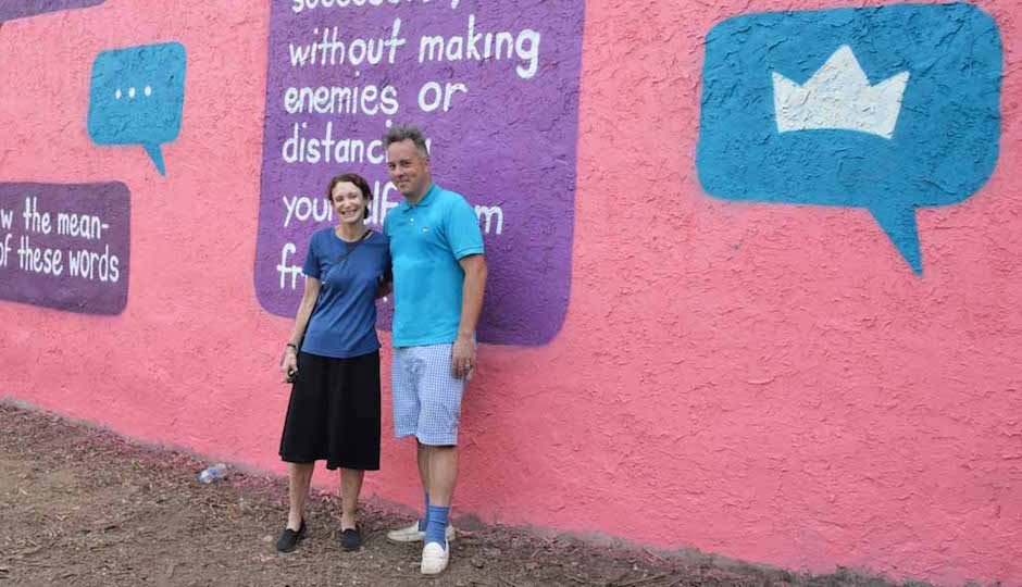 Mural Arts Executive Director Jane Golden and muralist Steve Powers.