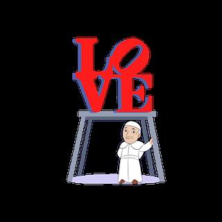 Pope Francis emoji - LOVE statue