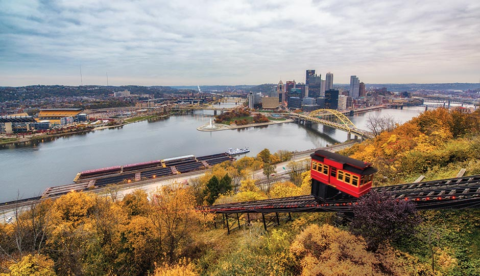 The Duquesne Inlcine cable car overlooking downtown Pittsburgh. Photograph by Dave DiCello/Visit Pittsburgh