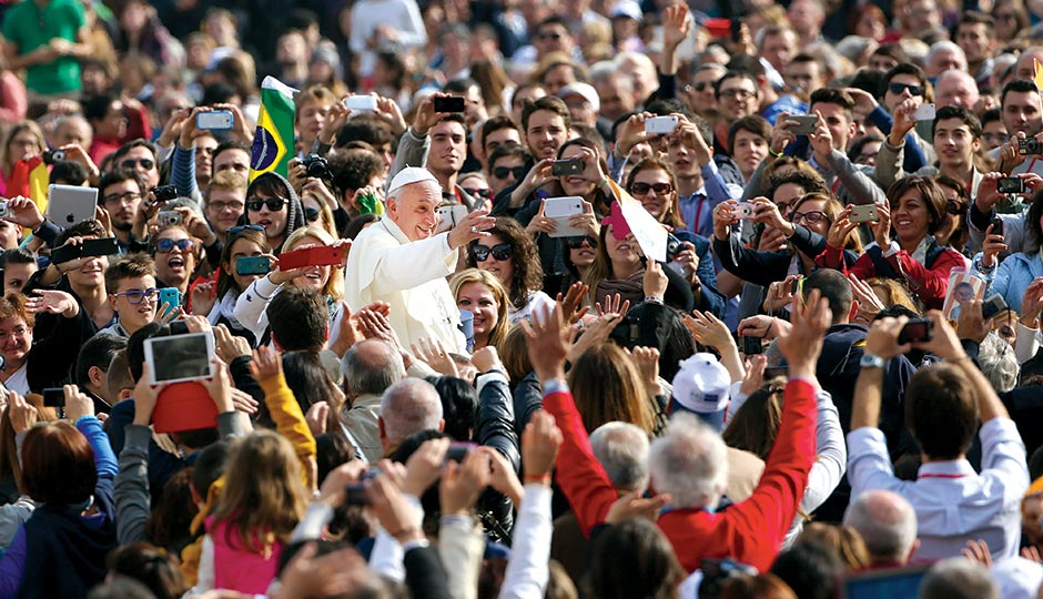 Pope Francis in St. Peter's Square in 2013. Photograph by Franco Origlia/Getty Images