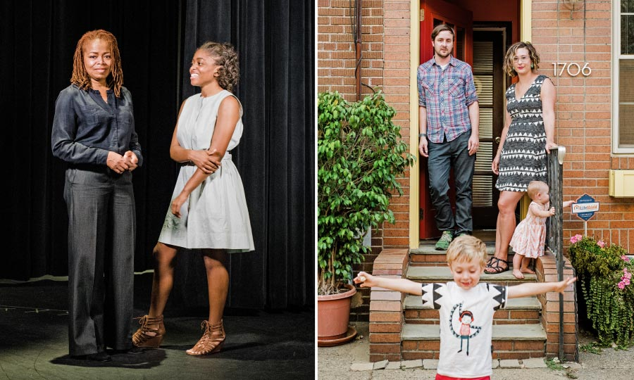 Left: Shelli Thomas and her daughter Zoie at Philadelphia Performing Arts Charter School. Right: David Clayton and Kate Clark, of East Passyunk, send their son August, four, to Russell Byers Charter school for pre-K. Photography by Christopher Leaman