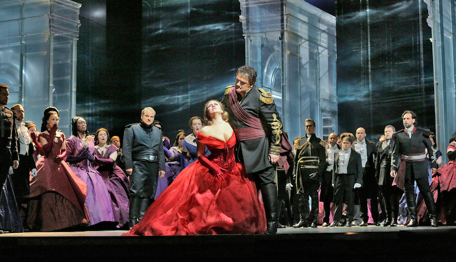 "Aleksandrs Antonenko in the title role and Sonya Yoncheva as Desdemona in Verdi's ""Otello"". Photographed by Ken Howard/ Metropolitan Opera"