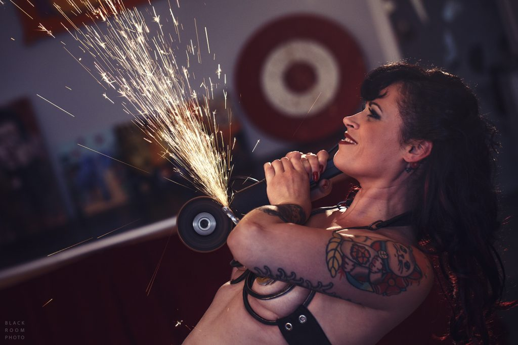 """Philly performer """"Reggie Bügmüncher"""" gets up close and personal with an angle grinder."""