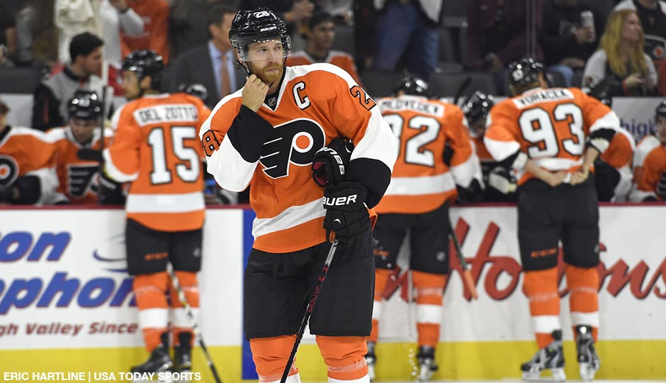 Philadelphia Flyers center Claude Giroux (28) skates during a stop in play against the New York Islanders during the first period at PPL Center.
