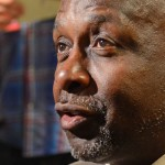 Apr 14, 2013: Philadelphia 76ers former player Moses Malone speaks with the media before game against the Cleveland Cavaliers at the Wells Fargo Center. The 76ers were celebrating the 30th anniversary of the 1982-83 championship team. |Eric Hartline-USA TODAY Sports