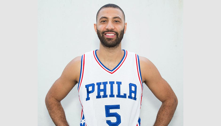 Philadelphia 76ers guard Kendall Marshall (5) during media day at Stockton Seaview Hotel. Bill Streicher-USA TODAY Sports