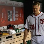 Washington Nationals relief pitcher Jonathan Papelbon  after being ejected form the game for hitting Baltimore Orioles third baseman Manny Machado (not pictured) with a pitch in a September 23rd game.