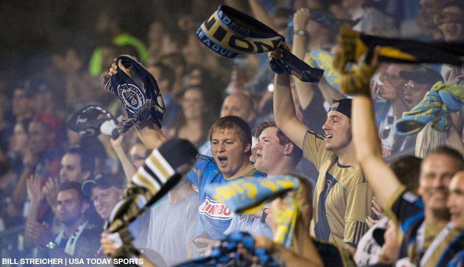 Aug 12, 2015; Philadelphia, PA, USA; Philadelphia Union fans celebrate forward Sebastien Le Toux (not pictured) goal against the Chicago Fire at PPL Park. The Union won 1-0.