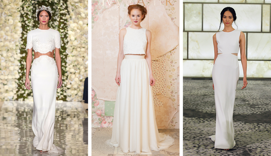 Crop-top and peekaboo gowns from Reem Acra, Ivy & Aster and Rivini. Photos courtesy of the designers.