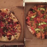 Vegan pizza from Blackbird Pizzeria — the Haymaker Pizza on the left and Nacho Pizza on the right.