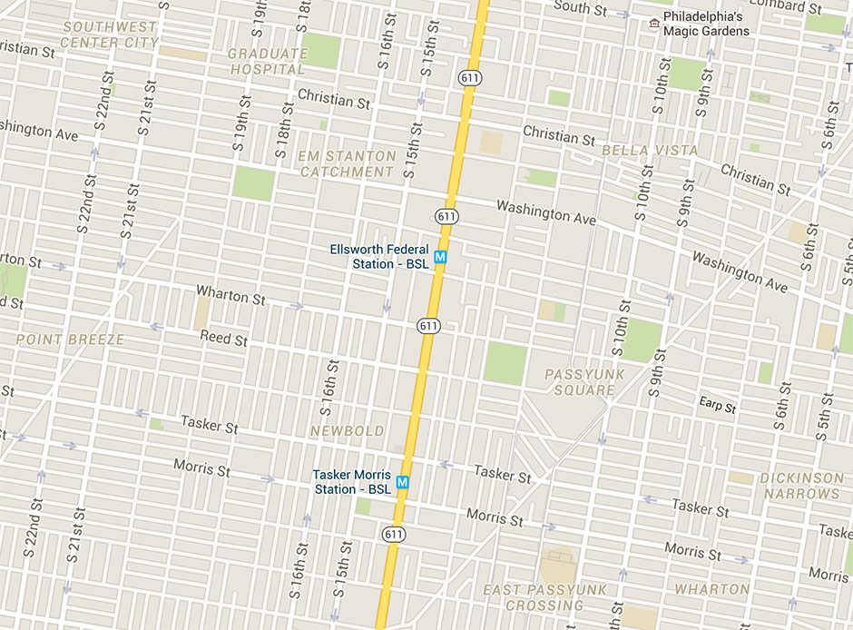 Google Maps' South Philly hoods