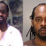 James Gadsden in front of 2400 Bryn Mawr Avenue last week (left, via Facebook); James Gadsden in his mugshot after being arrested at the property (right, via Philadelphia Police Department)