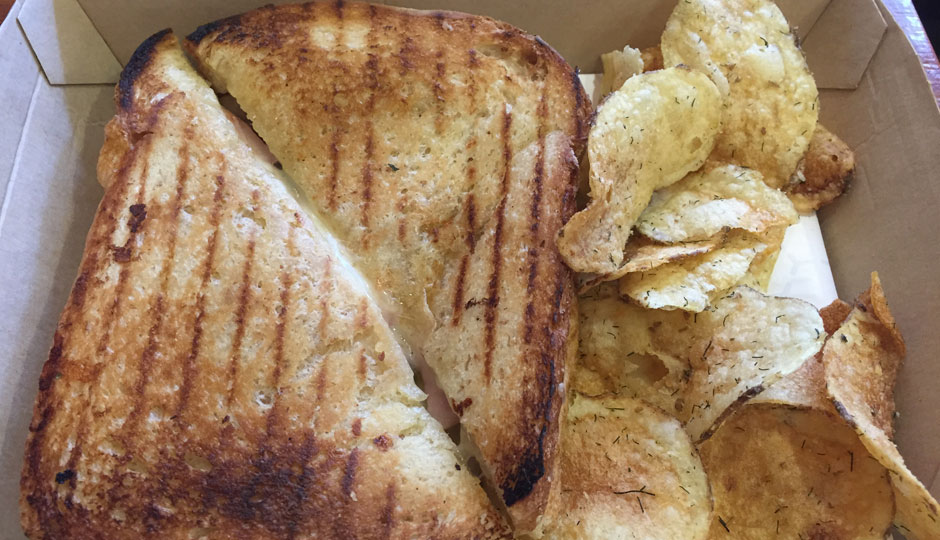 Somerset - Aged Gruyere, cured ham, cornichon pickles and whole grain mustard.