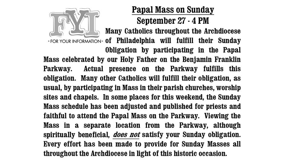 Papal Mass Bulletin - St. Matthew's