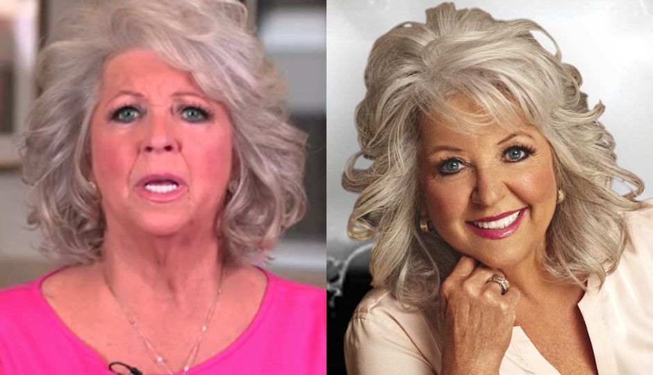 Paula Deen in one of her infamous apology videos (left) and Deen in a recent publicity photo.