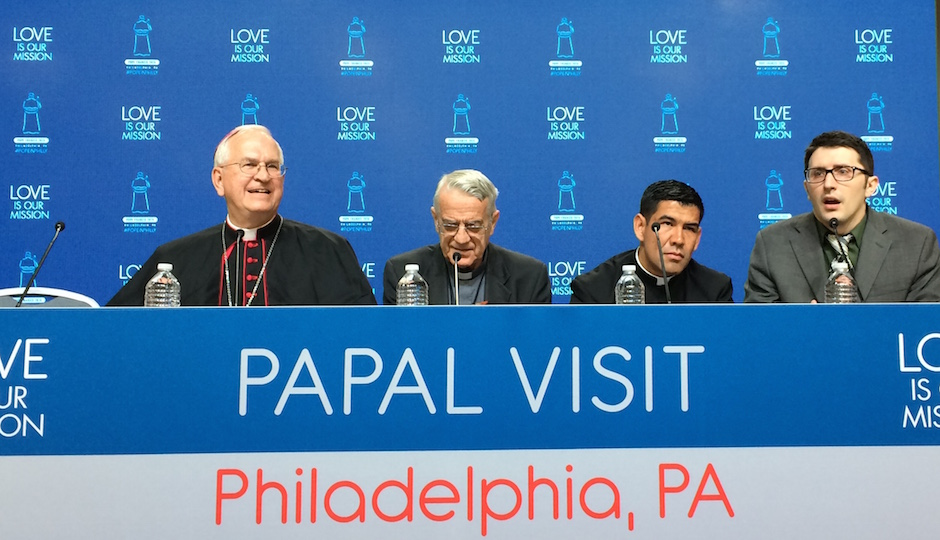 Briefing the media were Louisville Archbishop Joseph Kurtz, Vatican spokesman Rev. Federico Lombardi, his assistant Rev. Manuel Dorantes, and a staffer from the U.S. Conference of Catholic Bishops | Joel Mathis, Philly Mag