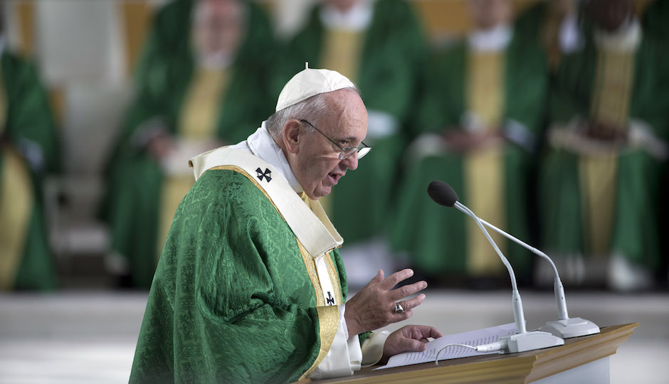 Pope Francis delivers his speech during a Mass on the Benjamin Franklin Parkway, Sunday, Sept. 27, 2015, in Philadelphia. (AP Photo/Alessandra Tarantino)